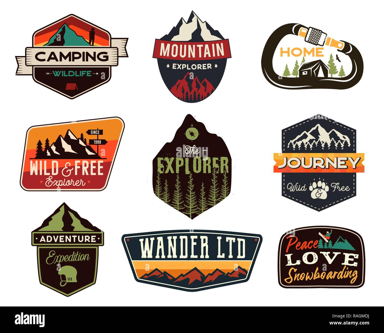 vintage outdoors logos set