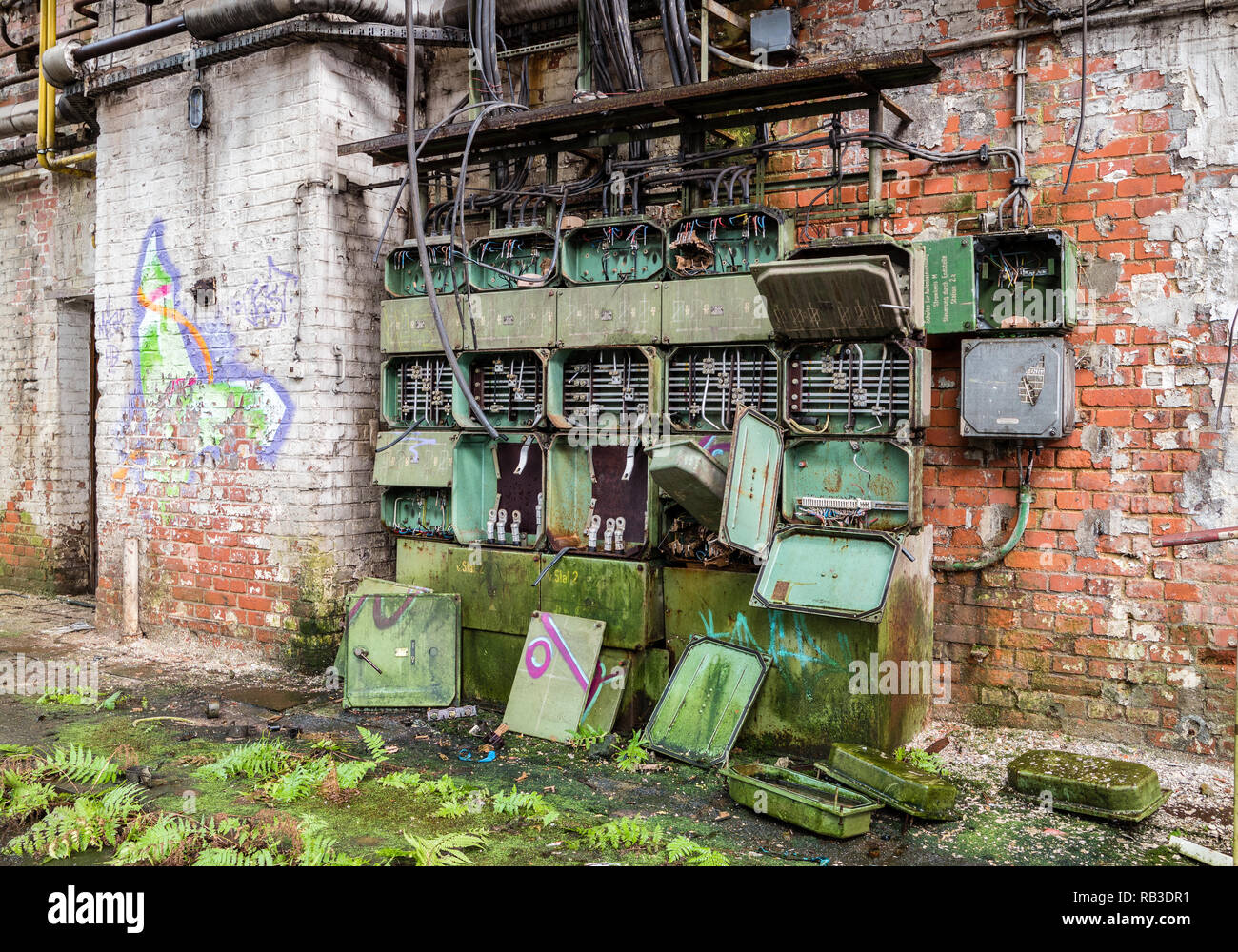 hight resolution of old fuse box factory stock image
