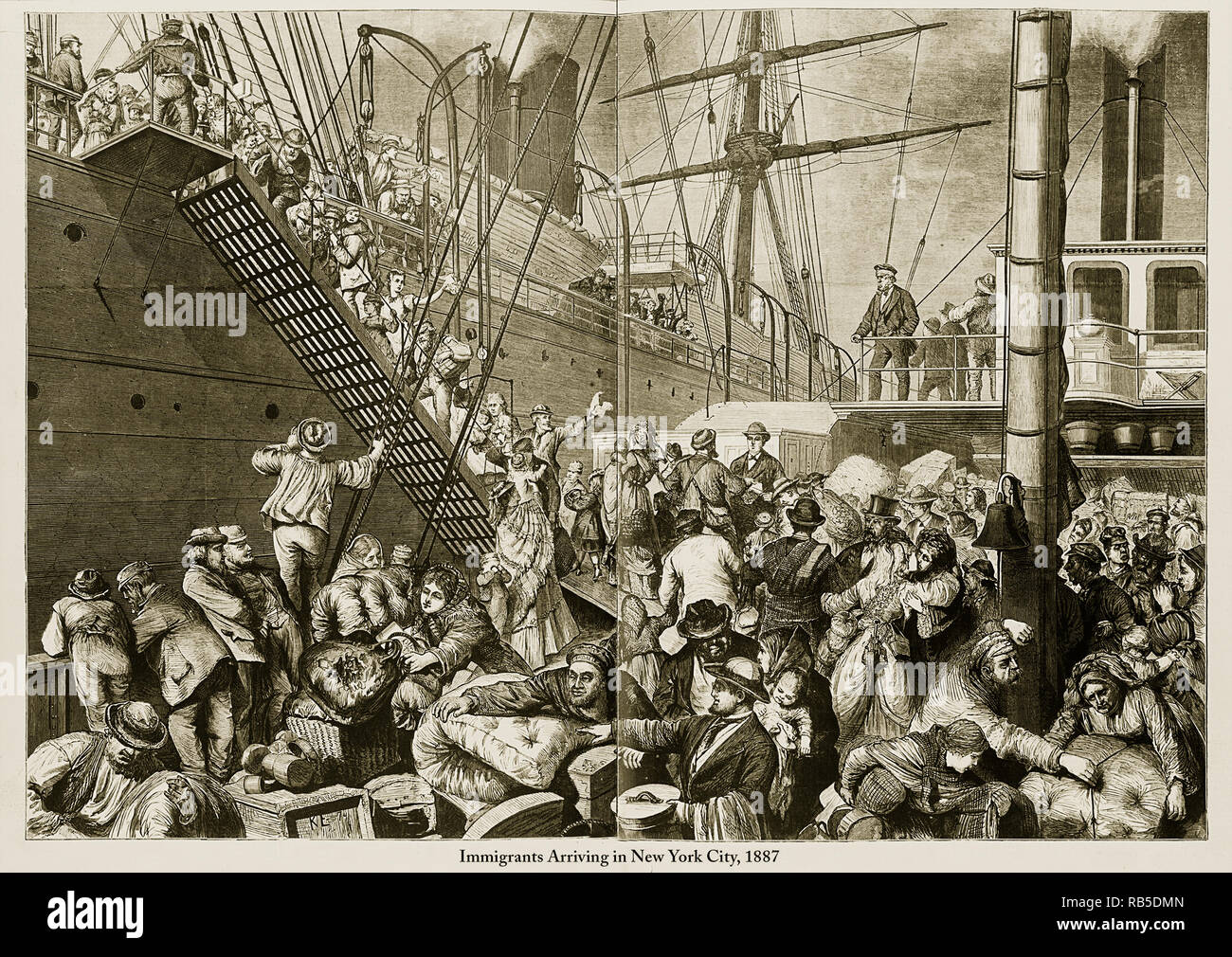 Immigrants Arriving In New York City Engraving Stock