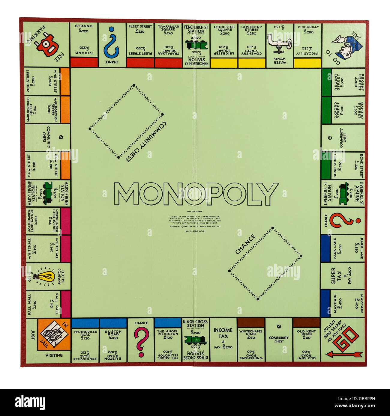 hight resolution of the playing board for the game of monopoly