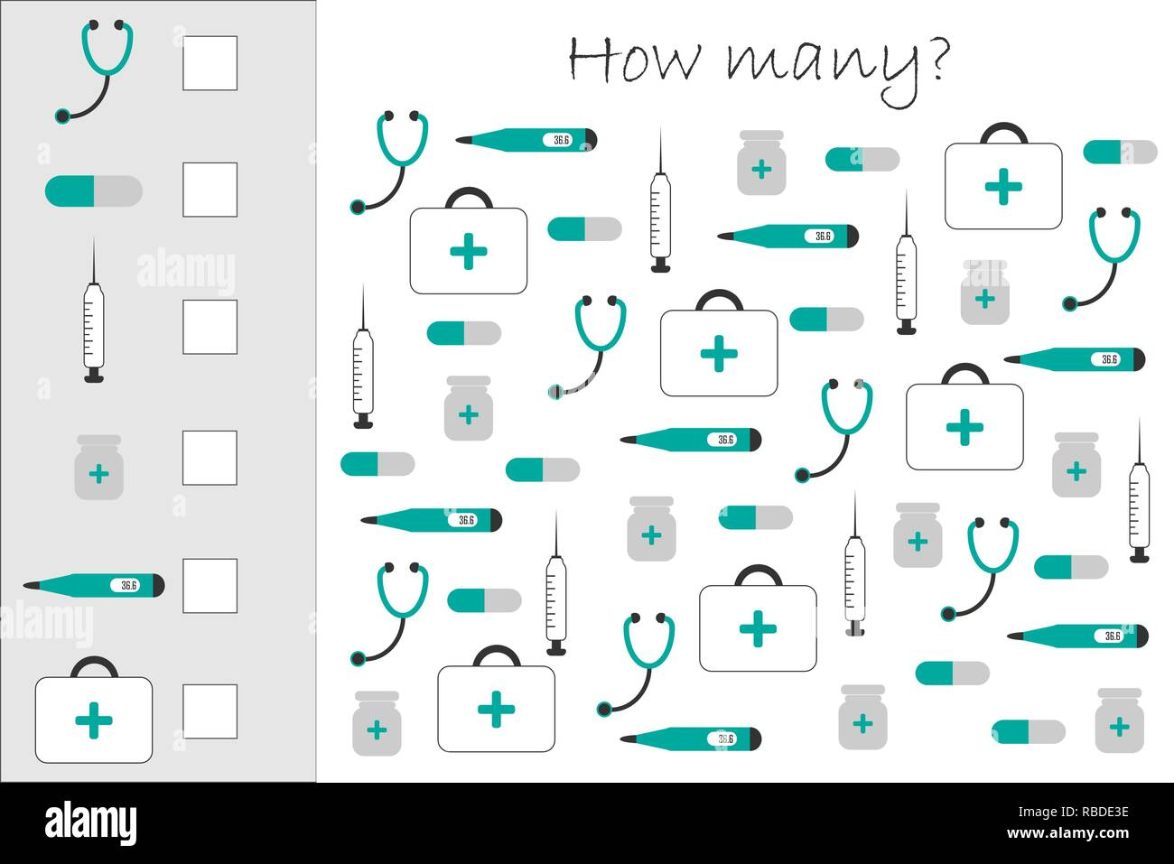 How Many Counting Game With Medical Pictures For Kids