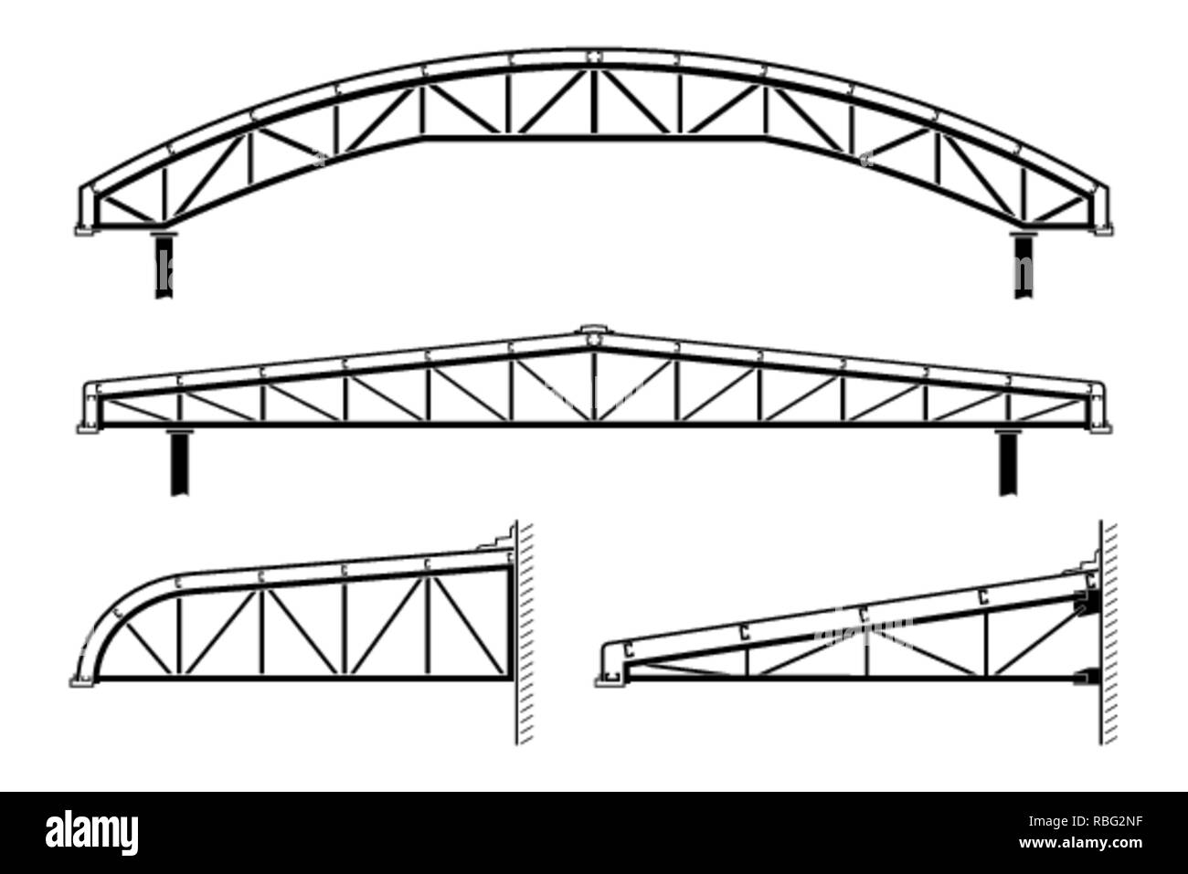 hight resolution of roofing building steel frame roof truss collection vector illustration stock image
