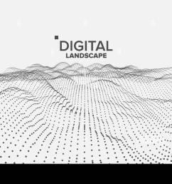 digital landscape vector data technology wave mountain tech surface dot land geometric data 3d illustration [ 1300 x 821 Pixel ]