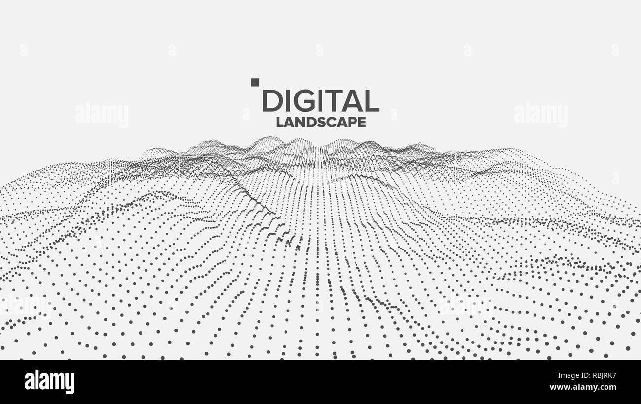 hight resolution of digital landscape vector data technology wave mountain tech surface dot land geometric data 3d illustration