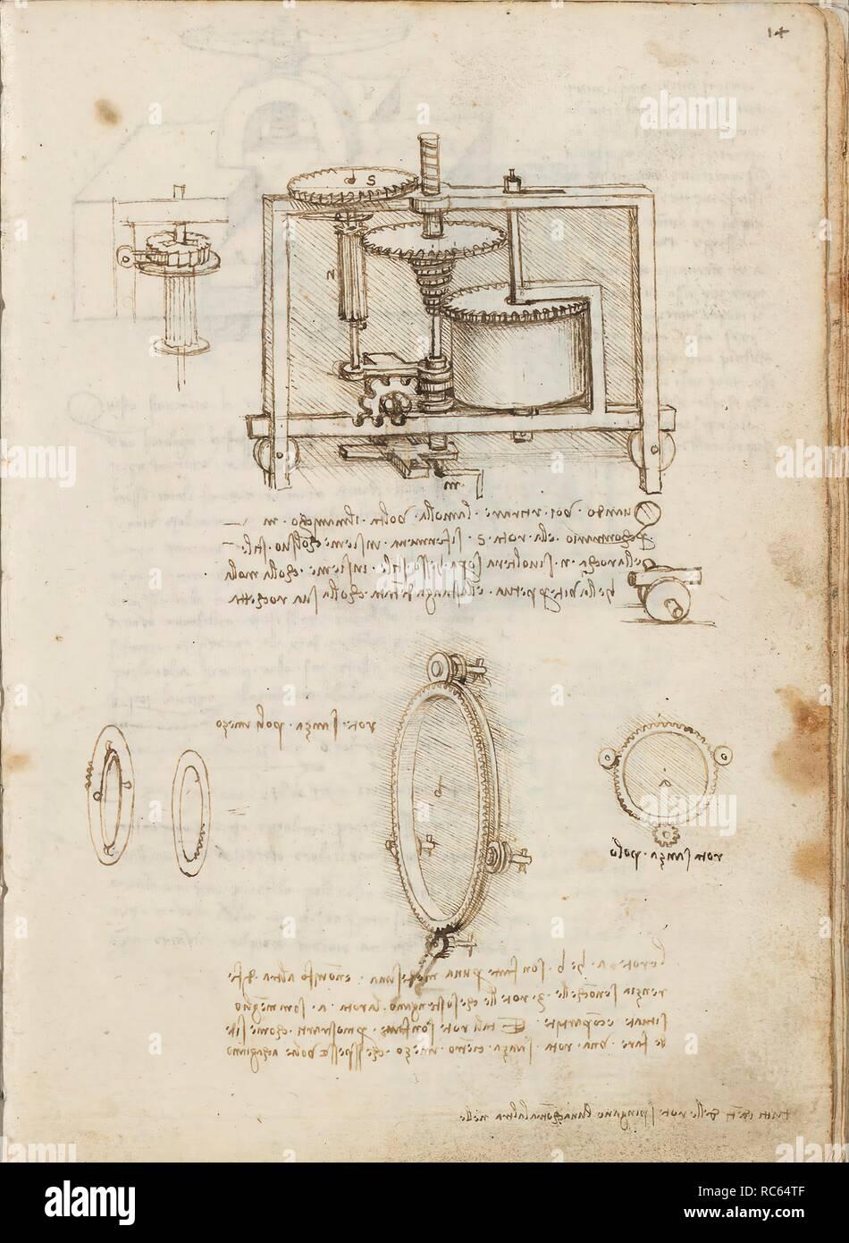hight resolution of folio f 14r codex madrid i ms 8937 treaty of statics and mechanics 192 folios with 384 pages internal format 215 x 145 mm