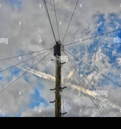 traditional telegraph pole with junction box and wires radiating across a partially cloudy sky with an [ 1300 x 956 Pixel ]