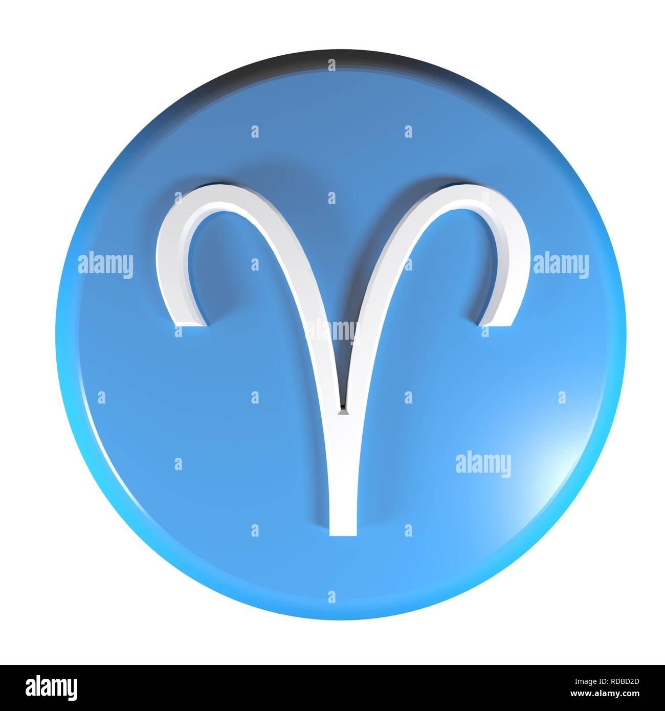 zodiac aries icon blue