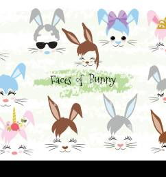 happy easter bunny face clipart easter gift [ 1300 x 956 Pixel ]