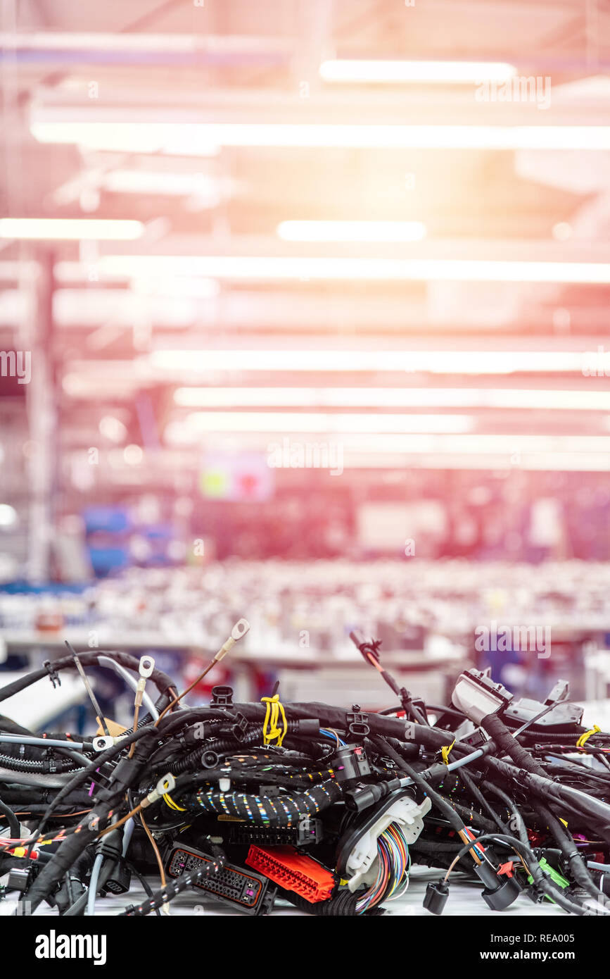 medium resolution of wiring harnesses technology automobile industry background stock image