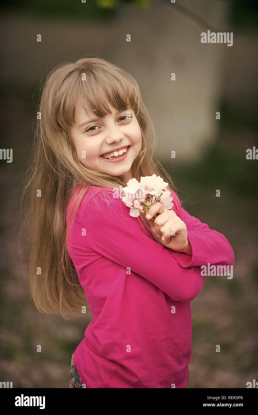 Smile Cute Baby Girl : smile, Small, Child, Adorable, Smiling, Blonde, Shirt, Holding, Spring, Sakura, Flower,, Cherry, Blossom, Outdoor, Blurred, Background, Stock, Photo, Alamy