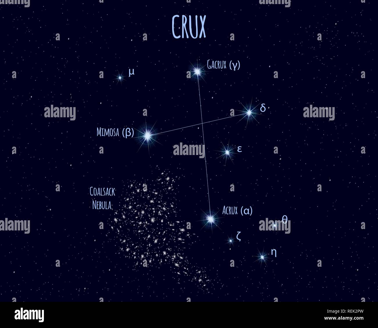 hight resolution of crux the southern cross constellation vector illustration with the names of basic stars
