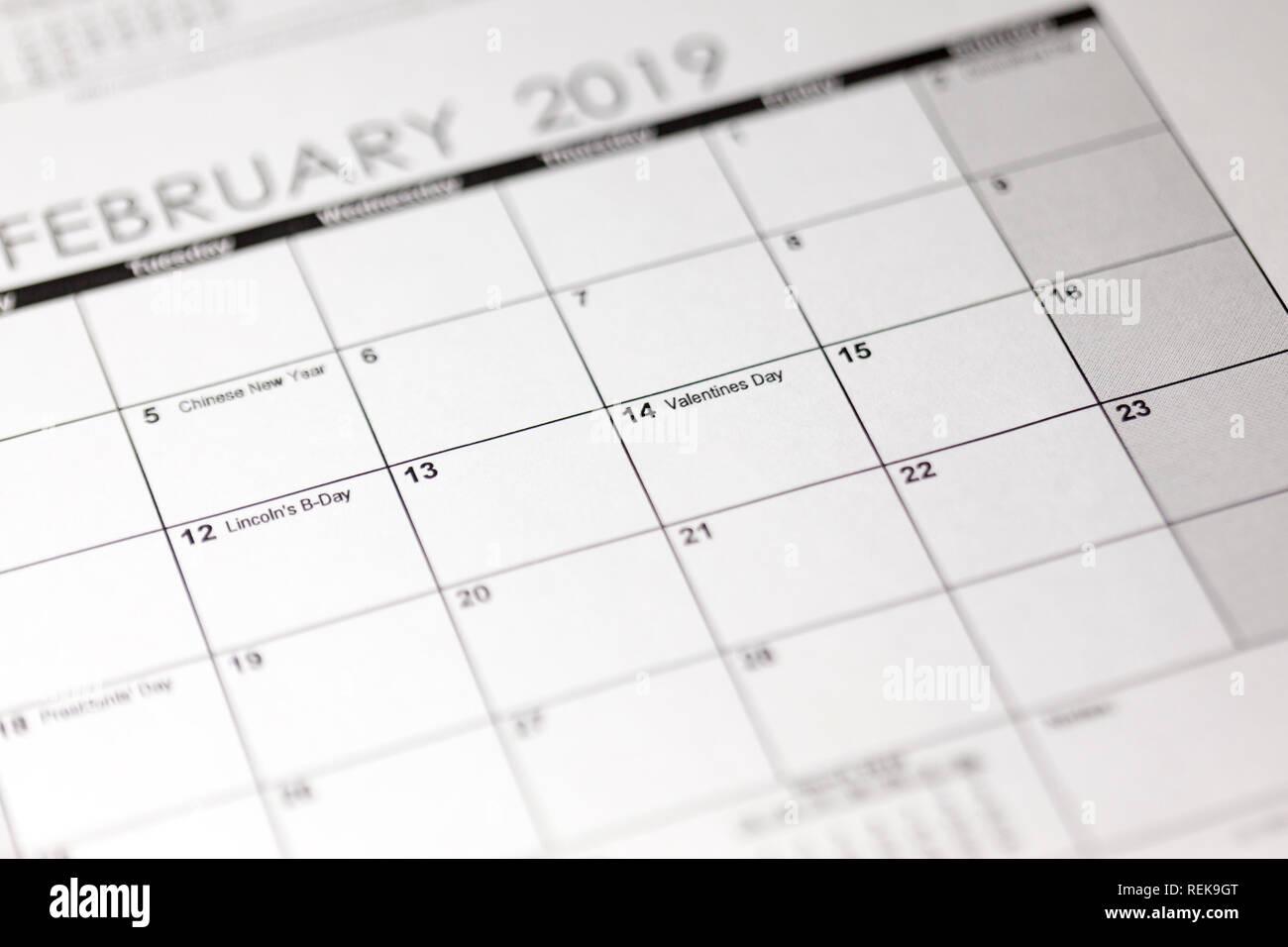 calendar february 14 2019
