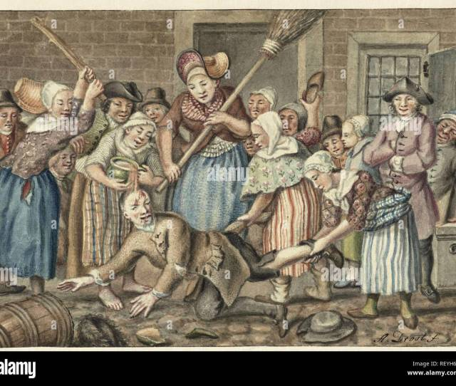 A Man Who Had Beaten His Wife Is Punished By A Group Of Women In The Vinkestraat In Amsterdam 1768 Draughtsman Anthonie Drost Dating 1768