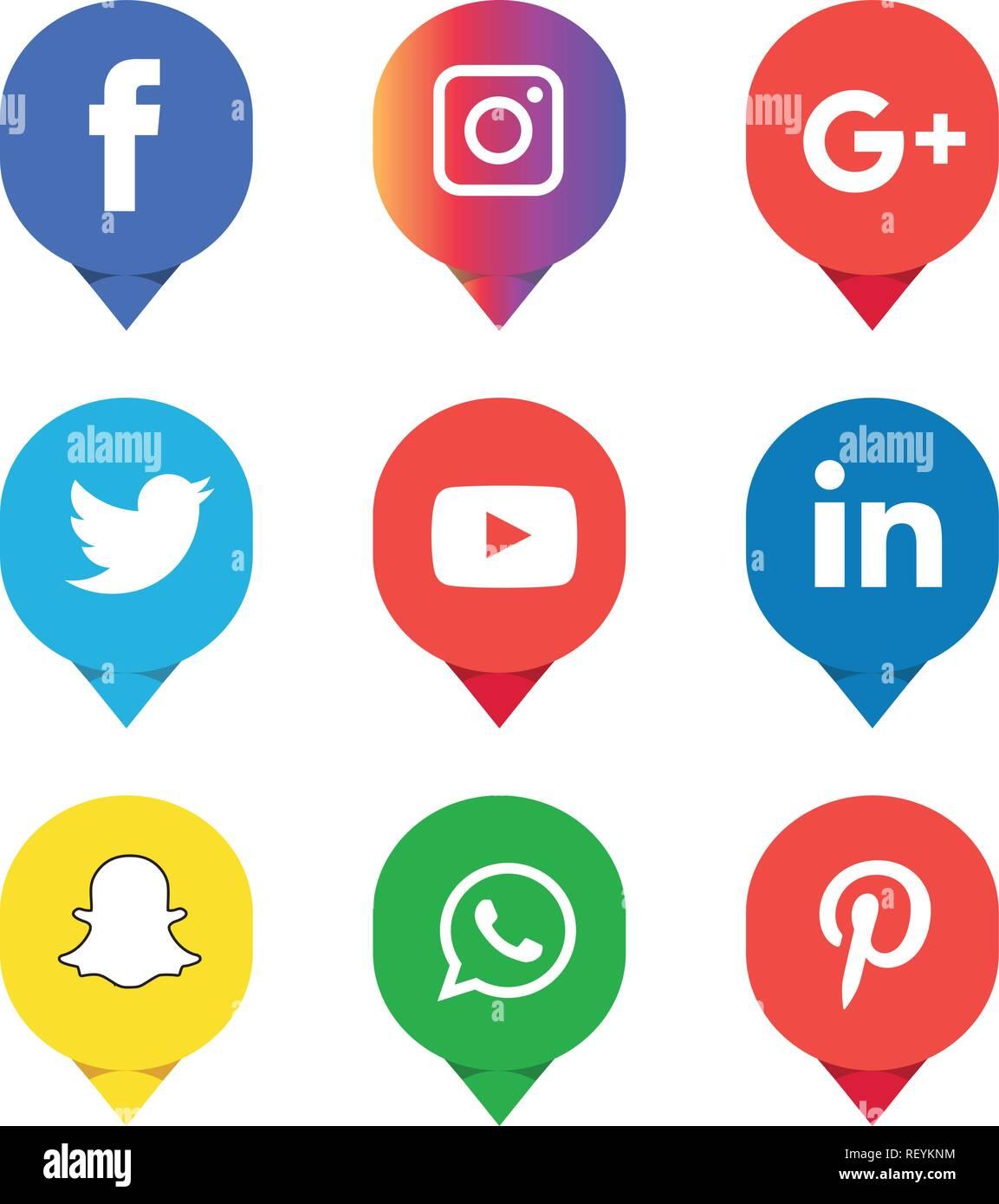 Twitter Facebook Instagram Icons : twitter, facebook, instagram, icons, Social, Media, Icons, Vector, Illustrator, Facebook,, Instagram,, Twitter,, Whatsapp,, Google, Plus,, Google+,, Pinterest,, Linkedin,, Vector,, Black,, White, Stock, Image, Alamy