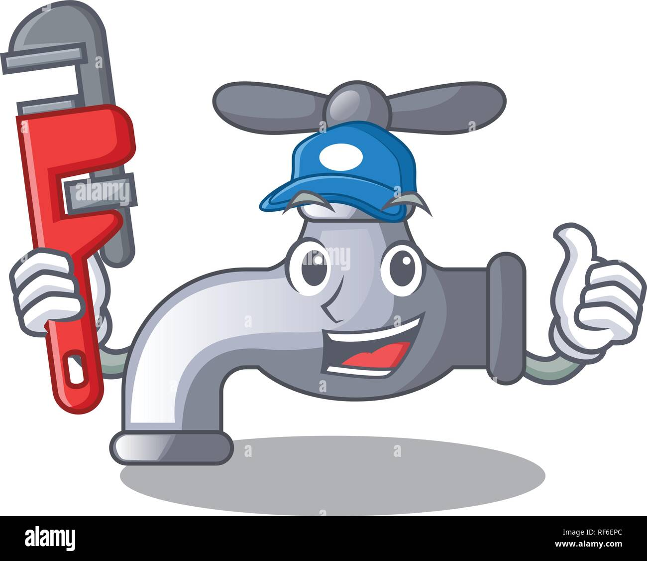 Plumber Water Tap In Shape Wooden Cartoon Stock Vector Image Art Alamy