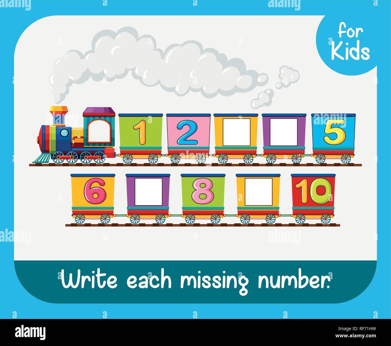Write Each Missing Number Worksheet Illustration Stock