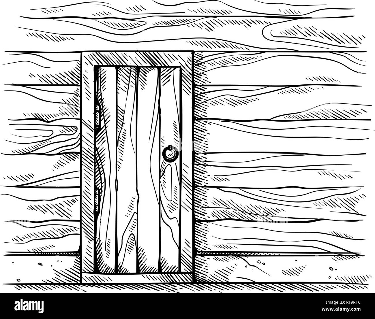 hight resolution of sketch hand drawn old rectangular wooden door in wall wooden frame vector illustration