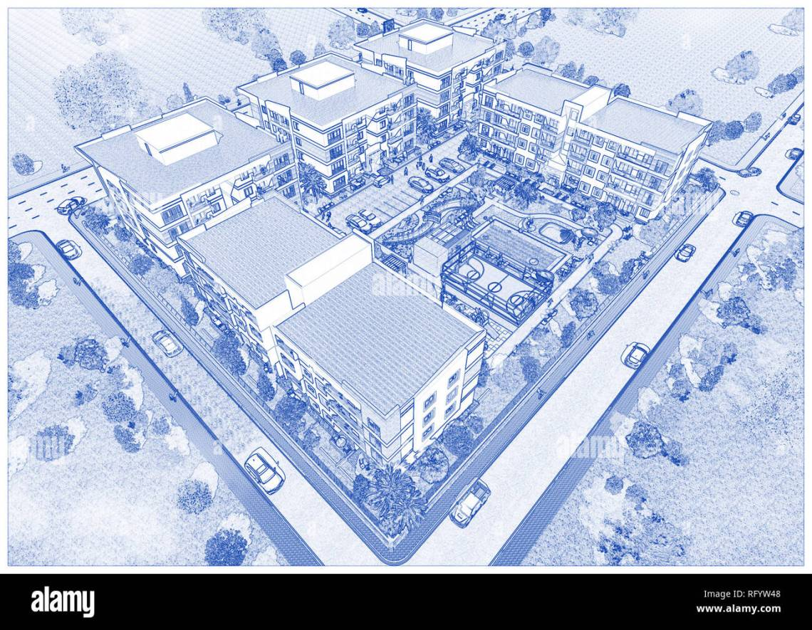 Blueprint Drawing Of Architecture Stock Photo Alamy