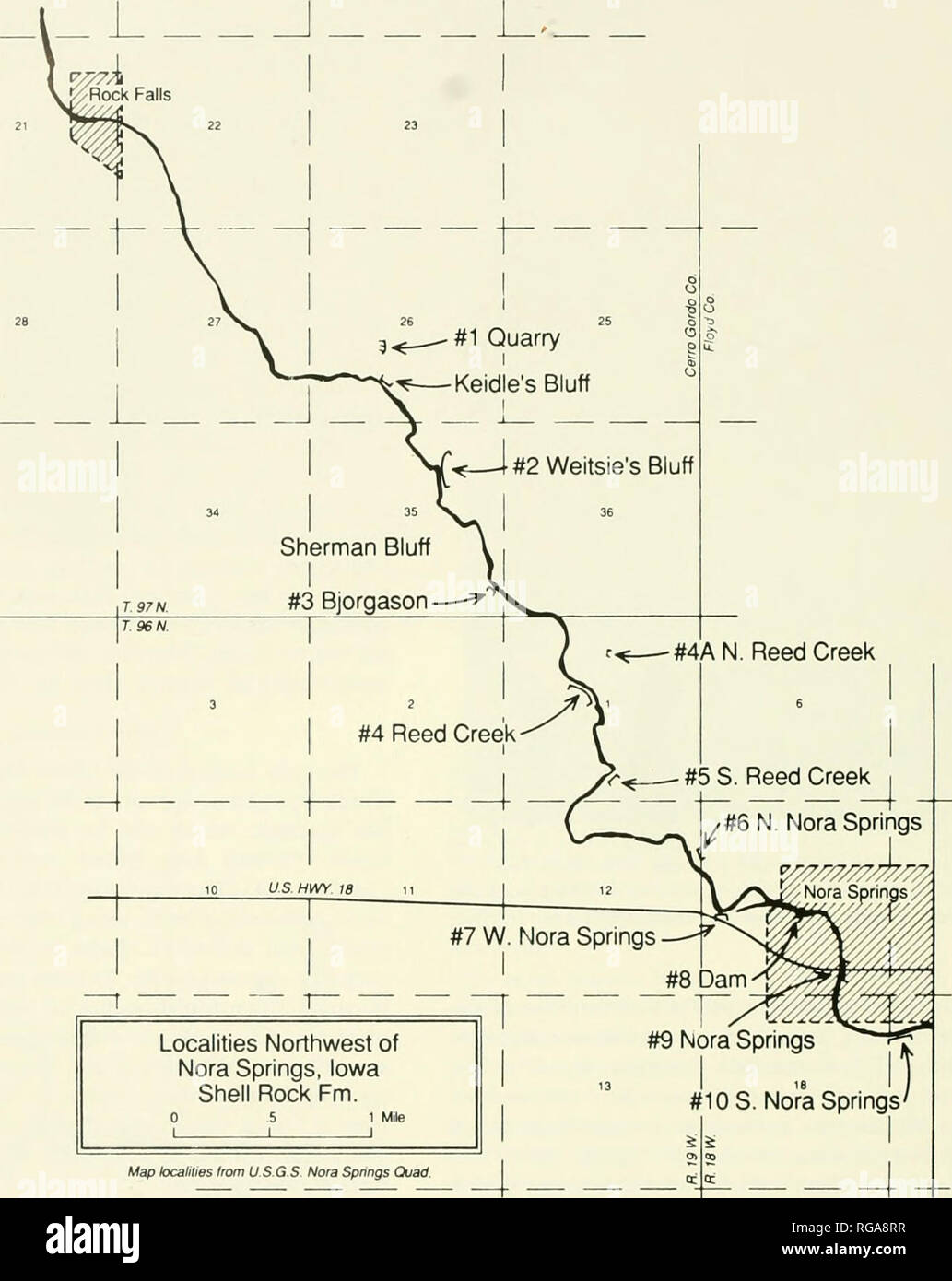 hight resolution of localities where the shell rock formation was studied along the shell rock river northwest of nora springs iowa