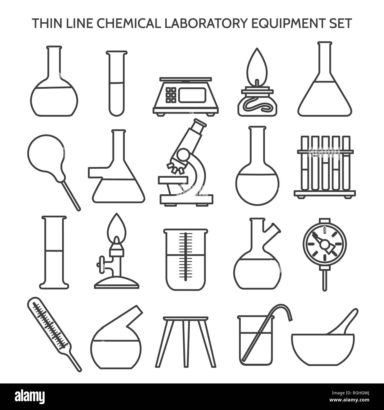 Chemical Laboratory Equipment Line Icons Beaker And Flask