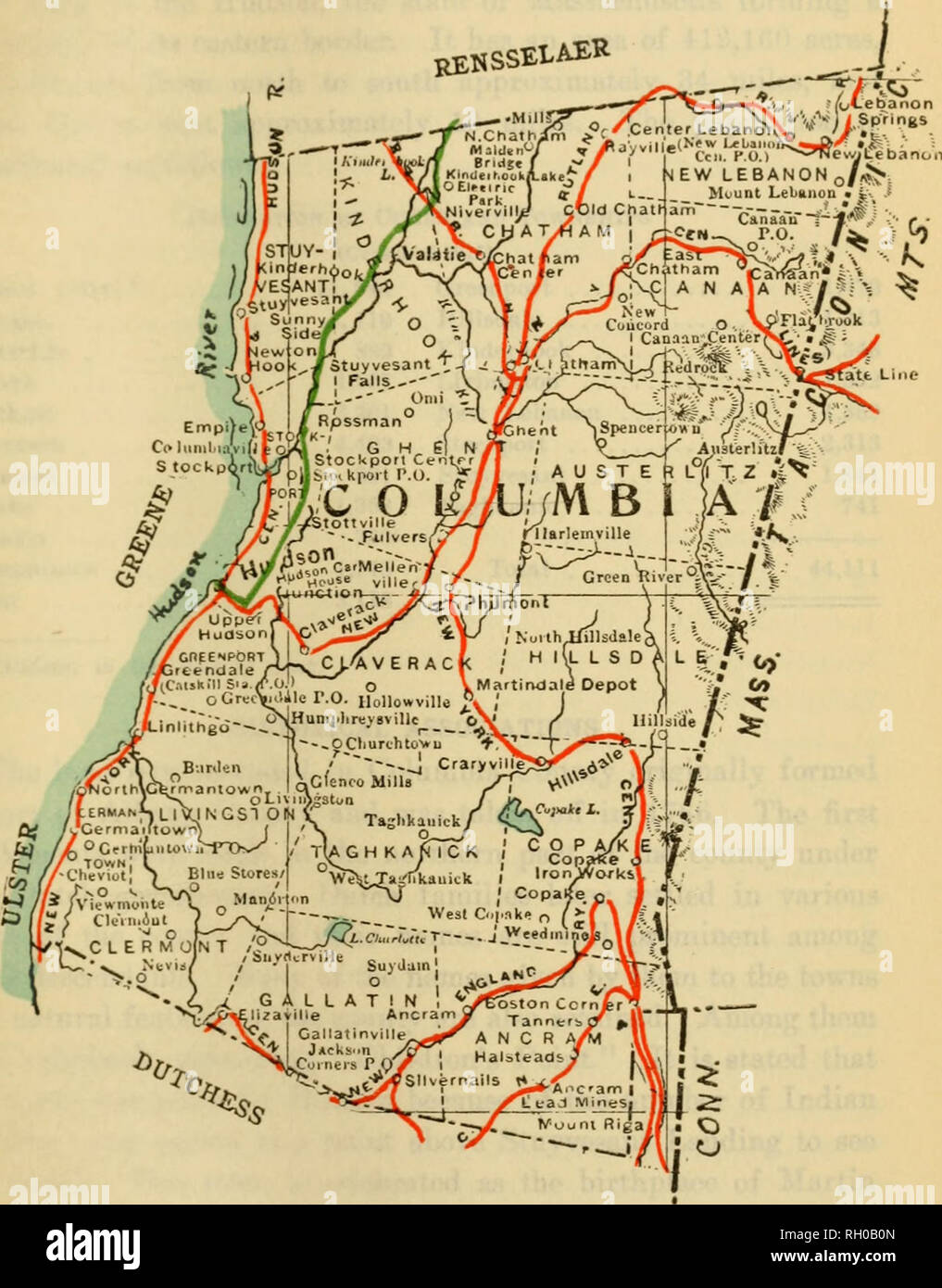 Map Of Columbia County Ny : columbia, county, Bulletin., Agriculture., Columbia, County,, Showing, Townships, Railroads;, Green,, Electric, Roada., Please, These, Images, Extracted, Scanned, Digitally, Enhanced