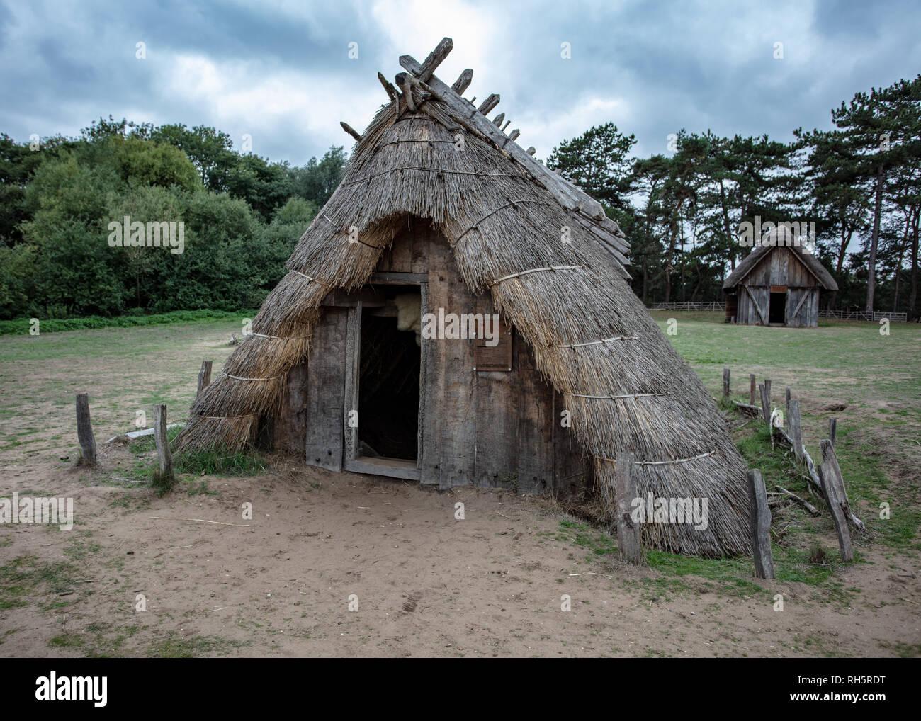 Anglo Saxon Houses Stock Photo