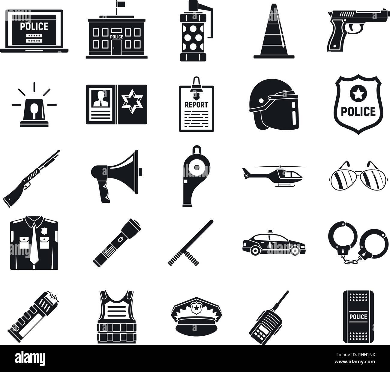 https www alamy com police arsenal icons set simple set of police arsenal vector icons for web design on white background image234558518 html