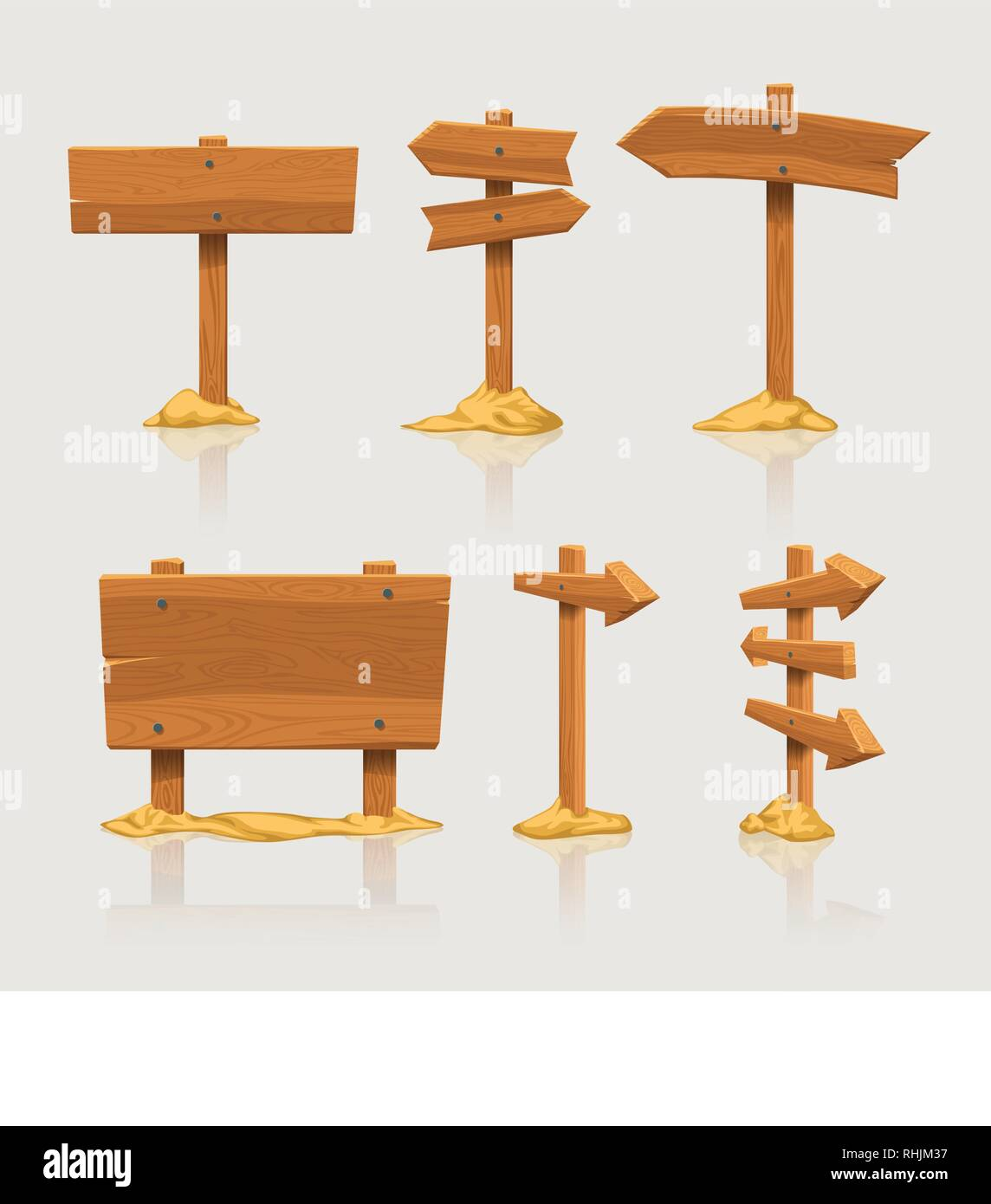 wooden directional signs set