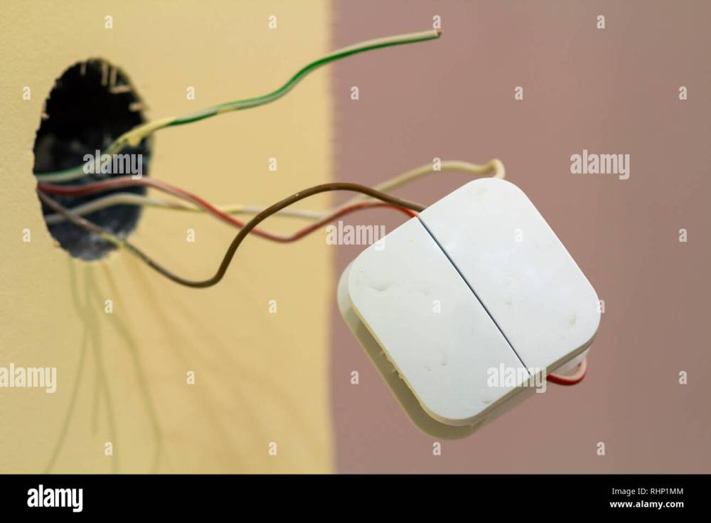 medium resolution of white electric square switch with loose connecting wires on room interior light wall copy space background connection installation and repair concep
