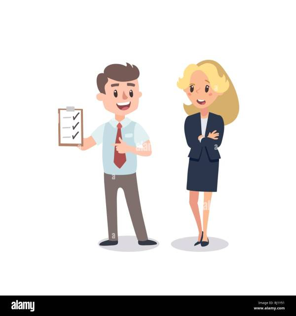 Man And Woman Present Project. Vector Illustration With