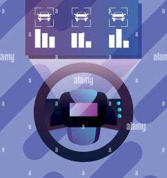 autonomous smart car steering wheel diagram vector illustration [ 938 x 1390 Pixel ]