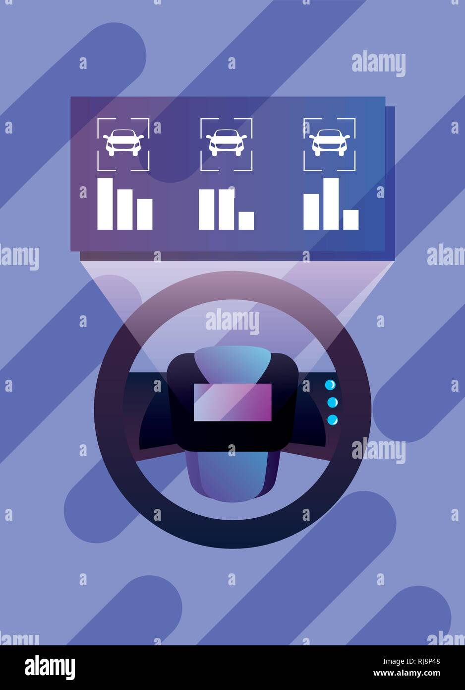 medium resolution of autonomous smart car steering wheel diagram vector illustration