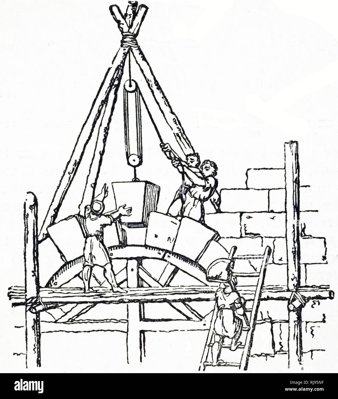 keystone arch diagram e bike throttle wiring stock photos images alamy illustration showing builders lifting and manoeuvring large a for an england 1836