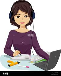 Illustration of a Teenage Girl Student Wearing Headphone and Listening to Music While Writing and Studying Stock Photo Alamy