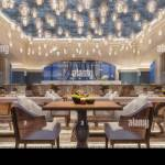 Modern Interior Design Of A Restaurant Arabic Style With Arched Beams And Candle Ceiling Light Night Scene Yellow Flowers 3d Rendering Stock Photo Alamy