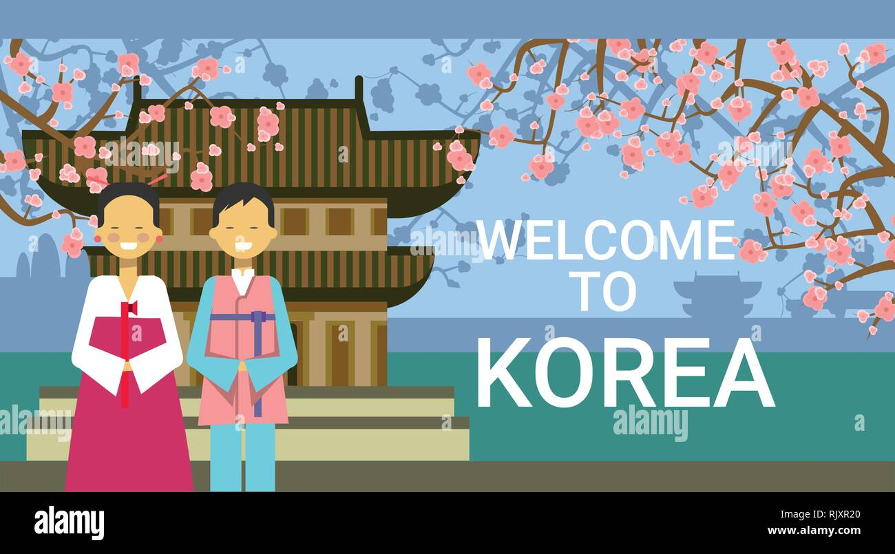 https www alamy com travel to south korea poster korean coupe wear national clothing over famous temple and sakura cherry blossom image235387432 html