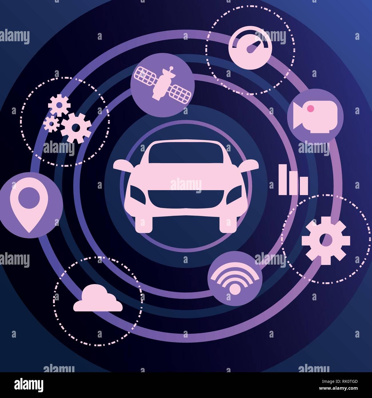 hight resolution of autonomous smart car satellite navigation icons vector illustration