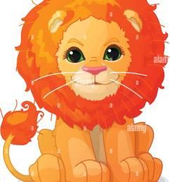 vector cartoon animal clipart cute little lion [ 975 x 1390 Pixel ]