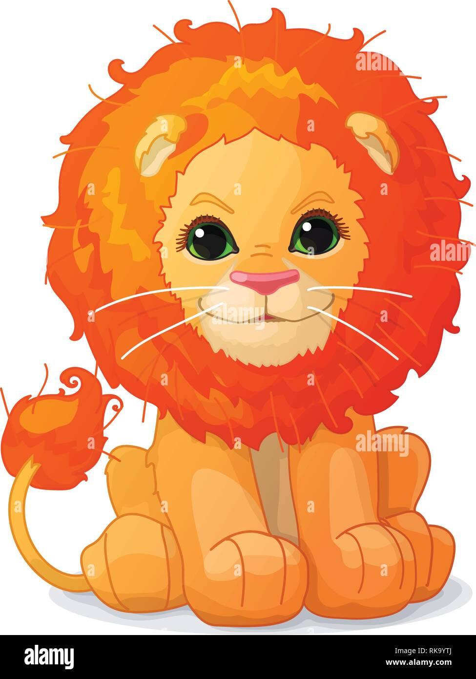 hight resolution of vector cartoon animal clipart cute little lion