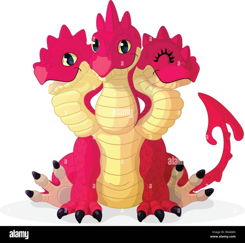 medium resolution of vector cartoon animal clipart 3 headed red dragon