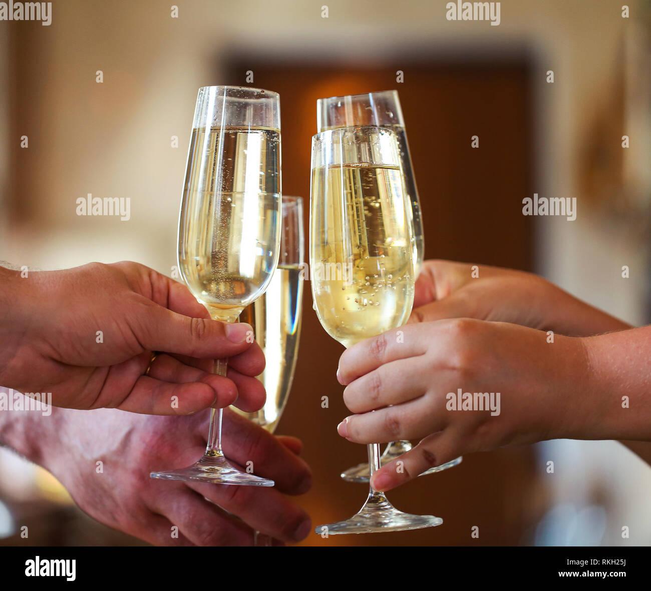 celebration people holding glasses