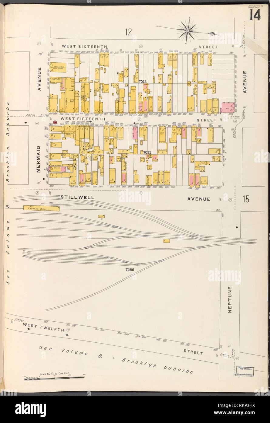 medium resolution of brooklyn vol b plate no 14 map bounded by w 16th st