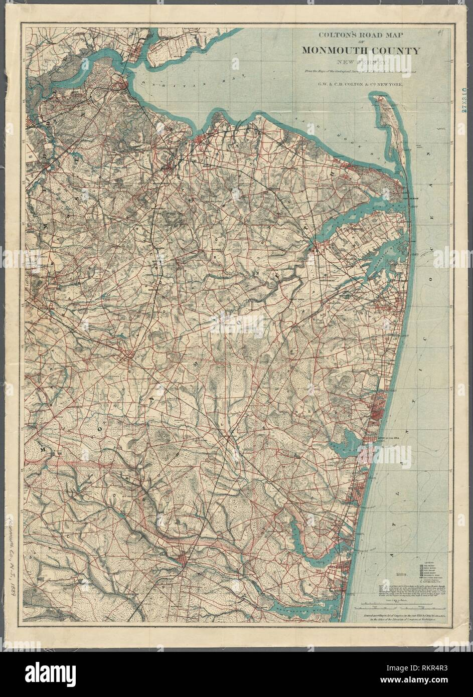 Maps Of Monmouth County Nj : monmouth, county, Colton's, Monmouth, County, Jersey, Additional, Title:, County,, Stock, Photo, Alamy
