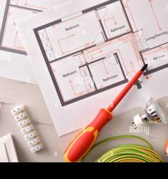 electrical tools for housing installation general view horizontal composition top view stock [ 1300 x 957 Pixel ]
