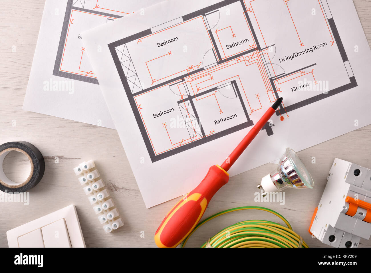 hight resolution of electrical tools for housing installation general view horizontal composition top view stock
