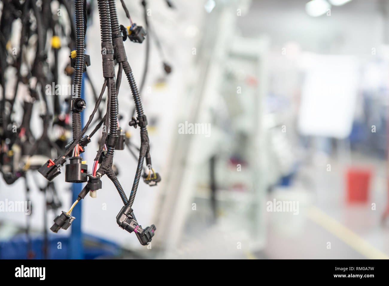 hight resolution of bunch of wiring harnesses automobile industry background with copy space stock image