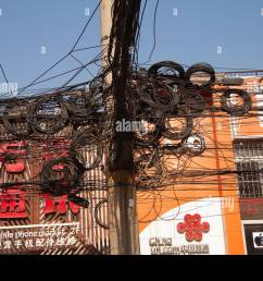 messy tangle of electric and telephone wires on street pole shanghai china december 29 2014 [ 1300 x 956 Pixel ]