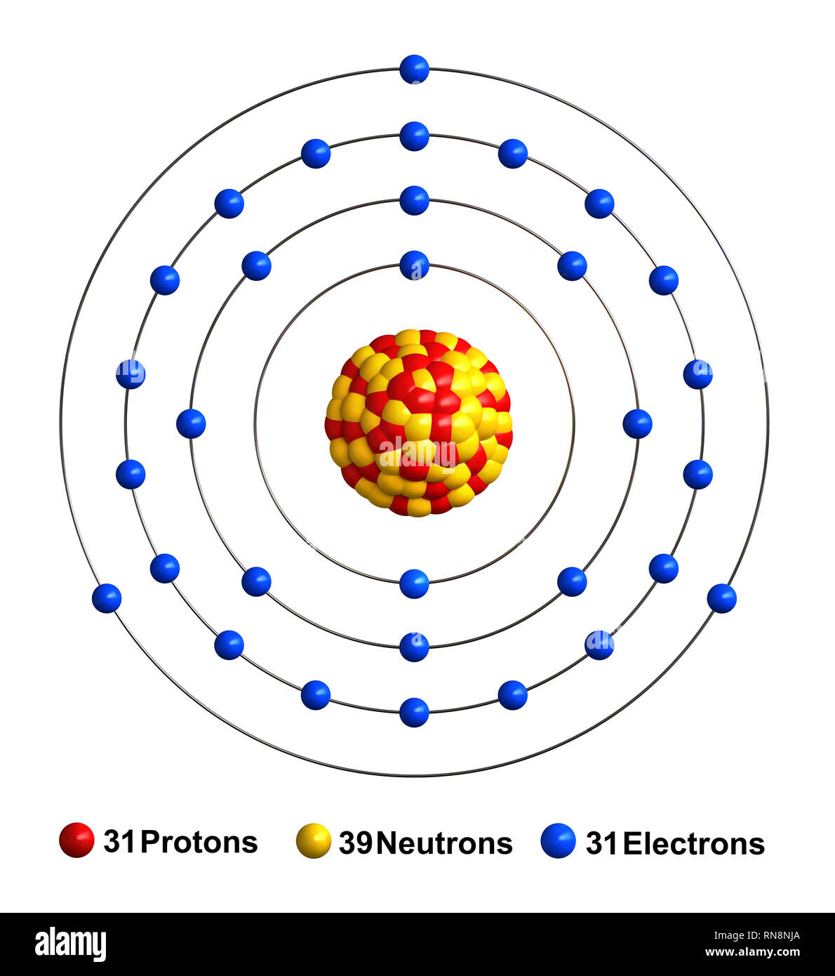 hight resolution of 3d render of atom structure of gallium isolated over white background protons are represented as red