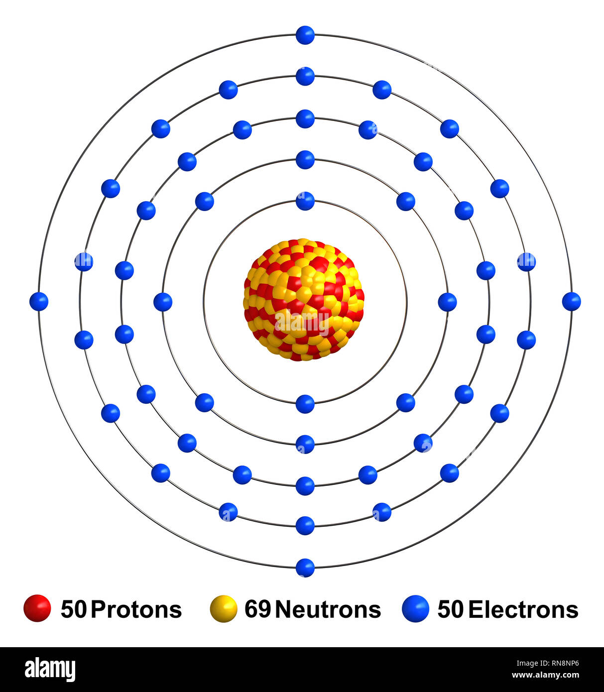 hight resolution of 3d render of atom structure of tin isolated over white background protons are represented as red spheres neutron as yellow spheres electrons as blue