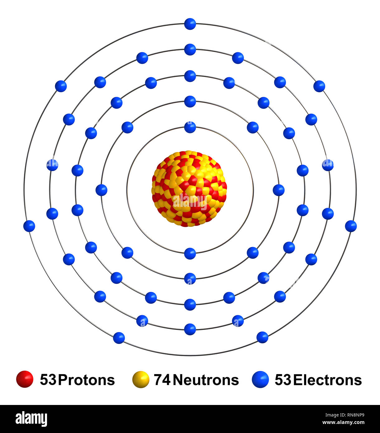 hight resolution of 3d render of atom structure of iodine isolated over white background protons are represented as red spheres neutron as yellow spheres electrons as b